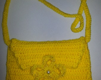 Crocheted Envelope Clutch  Purse with Strap