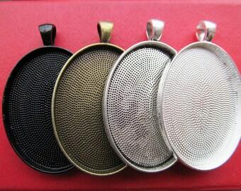 30x40mm Pendant Tray, Bezel Setting, 30x40mm Cabochon Tray - Silver, Bronze,Antique Silver, Black