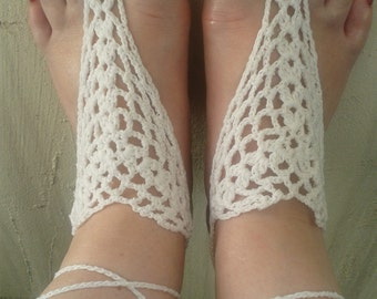 Crocheted barefoot sandals foot jewelry barefoot sandals bridal hippie accessories barefoot sandals Anklet beach shoes hand jewelry crochet