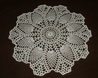 Hand Crocheted Doily White