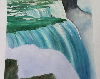 The magic of Niagara Falls, watercolor painting