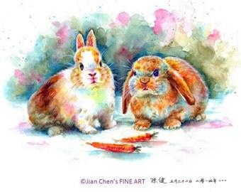 Small Mounted Print: bunnies