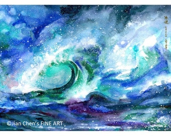Small Mounted Print: ocean waves