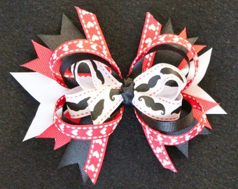 Valentine's Day Mustache Black, Red, and White Stacked Boutique Hair Bow