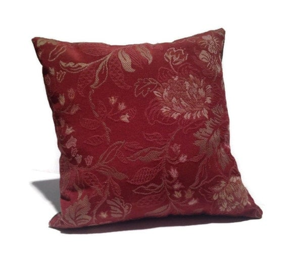 Throw Pillows Maroon : Floral Throw Pillow Gold Maroon