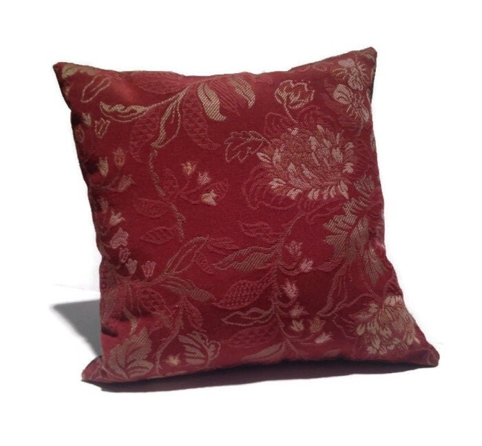 Floral Throw Pillow Gold Maroon