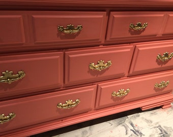 Coral Dresser,Seafoam and Gold French Dresser, Nightstands, Changing Table, Buffet, Credenza, bedroom furniture