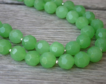 Lime Green Beaded Statement Necklace, Lime Green Glass Necklace, Multi-Strand Necklace