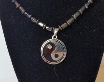 Mens Yin Yang Hematite Necklace