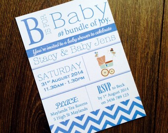 Customised Printable Baby Shower Invite - Vintage Typography Design