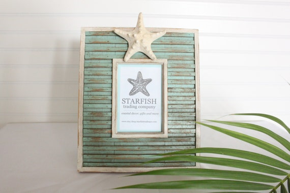 Starfish Photo Frame- Distressed Green Finish
