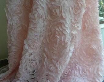 Light pink chiffon fabric, shabby chic roses chiffon lace fabric, wedding clutch bag, photography prop fabric