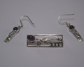 Rennie Mackintosh Inspired Silver Matching Earring and Brooch Set