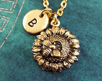 Sunflower Necklace, Gold Bee Charm, Hand Stamped Necklace, Engraved Necklace, Monogram Necklace, Sunflower Keychain Flower Necklace
