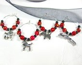Wine Glass Charms for Dog Lovers, Red Beads Speckled with Black, Gold and Silver, Set of Four, Wine, Housewarming, Hostess Gifts
