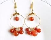 Gold hoop earrings, red aventurine earrings, gold hoops, orange earrings, gemstone earrings, aventurine earrings,hoop earrings,gold earrings