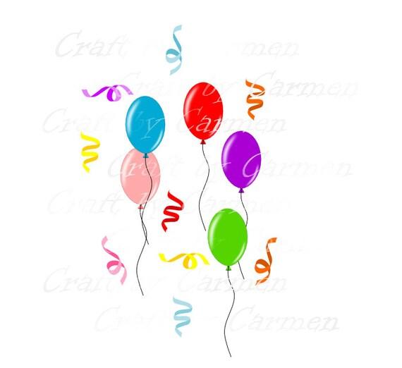 Ballons et confettis clip art, fête, anniversaire, scrapbook, design ...