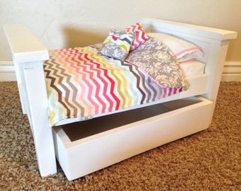 """American Girl Bed. Wood 18"""" Doll Farmhouse trundle bed with mattress - Made to Order"""