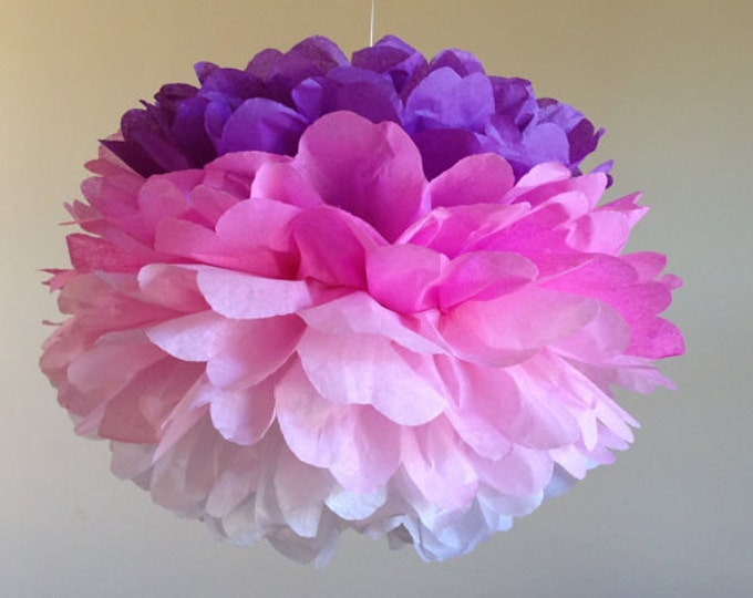 Ombre Pom, Custom Color or Purple to Pink Tissue Paper Pom,, Tissue Paper Pom, Ombre Paper Flower, Tissue Flower, Wedding and Birthday Decor