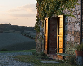 Tuscan Farmhouse, Tuscan Countryside, Tuscany, Italy, Rustic, Val d'Orcia, Farmhouse Doors - Travel Photography, Print, Wall Art