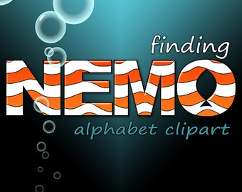 Finding Nemo Alphabet Clipart, Digital Alphabet, Nemo Letters + Numbers, Includes Ocean Background with Bubbles, Clownfish Digital Alphabet