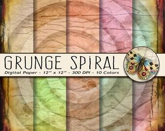 Grunge Spiral Digital Paper, Parchment Paper, Grunge Swirls, Antiqued Digital Scrapbooking Paper, Distressed Digital Paper