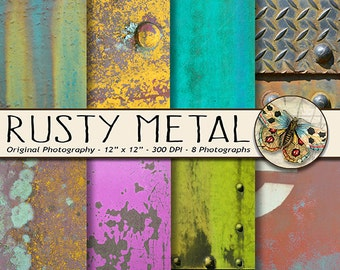 Rusted Metal Digital Paper, Set of 8 Corroded Rusted Metal Photo Textures, Digital Rust Texture Backgrounds Volume 1, Original Photography