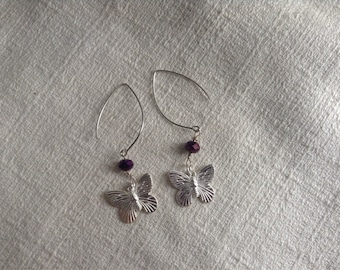 Silver Butterfly and Crystal Earrings