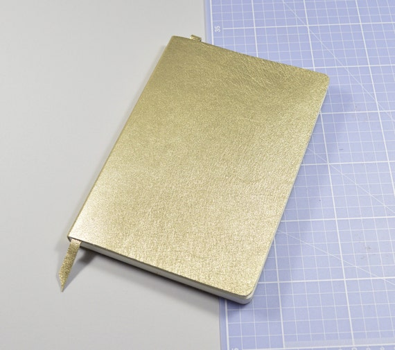 Handmade Metallic Gold Leather Notebook Journal A5 With Lined