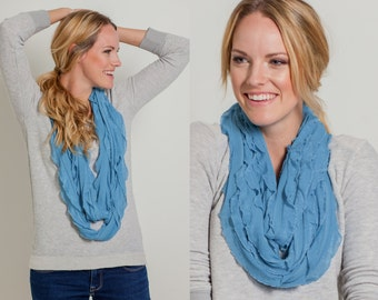 Turquoise Infinity Ruffle Scarf (MH-014)