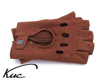 Brown fingerless nubuck leather gloves, driving gloves - pressed italian lambskin leather
