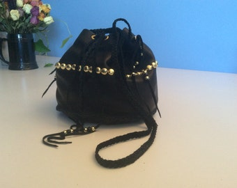 Bucket Bag, Hand Made Cowhide Purse with  Gold Studs, Black Leather Bucket Bag, Drawstring Leather Purse, Made in Canada
