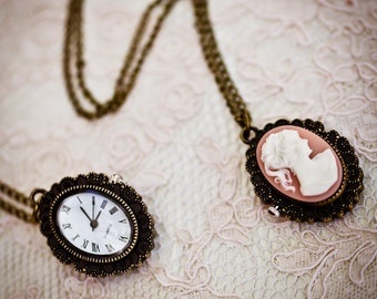 Resin Cameo Pocket Watch Necklace (The Victoria Pocket Watch)