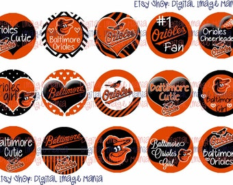 INSTANT DOWNLOAD Baltimore Orioles INSPIRED 4x6 Digital Printable 1 Inch Circle Bottle Cap Images