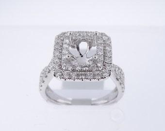 18K White Gold Diamond Double Halo Engagement Ring - SJ4700ER