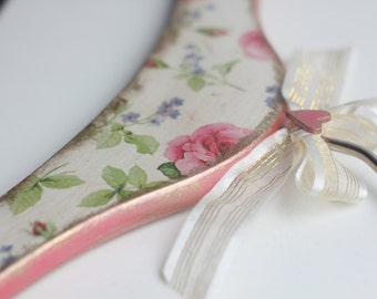 Decoupaged floral wooden lady hanger, wedding dress hanger