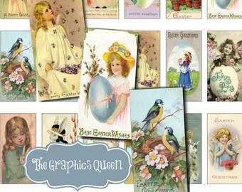 Digital Easter Images Vintage Collage Sheet 1 x 2 inch Rectangles Domino printable images for pendants INSTANT DOWNLOAD