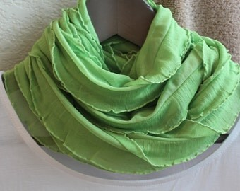 Lime green Spring or Summer infinity scarf! Lightweight, soft and airy! Scarf made from a ruffle knit fabric! Beautiful necklace scarf!