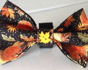 Fall Thanksgiving Dog Collar Bow Tie