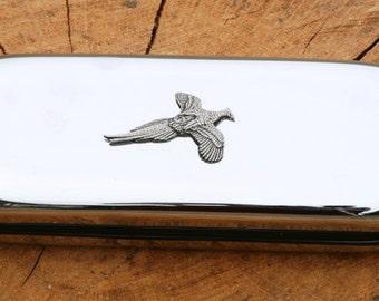 Pheasant Metal Pen Case & Ball Point Set Gift FREE ENGRAVING