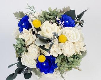 Birch, Yellow, Cobalt Blue, Yellow Billy Balls Sola Flower, Preserved Hydrangeas Centerpiece, Wedding Centerpiece