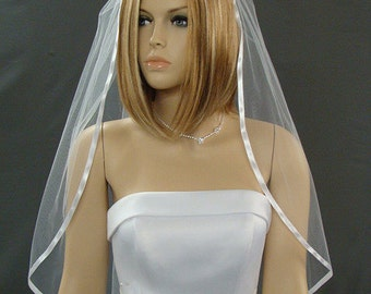 Ribbon Edge Wedding Veil, Waist Length Bridal Veil, One Layer Veil