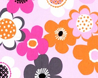 100% premium quilting cotton fabric by the yard, pink orange modern floral, girl fabric, designer fabric by Paula Prass for Michael Miller