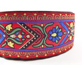 Folk Floral Red Blue Green Gold Woven Embroidered Jacquard Trim Ribbon - 1 Meter or 3.3 Feet or 1.09 Yards