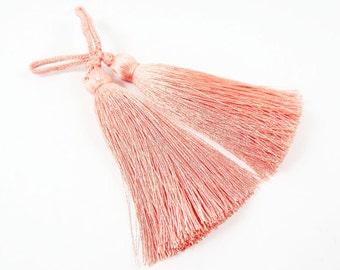 Long Soft Peach Grass Silk Thread Tassels - 2.75 inches - 70mm - 2 pc