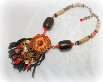 RESERVED for Sabine - Gypsy Tribal Boho Mixed Media Fringe Necklace - Brown Orange by Cindy Caraway