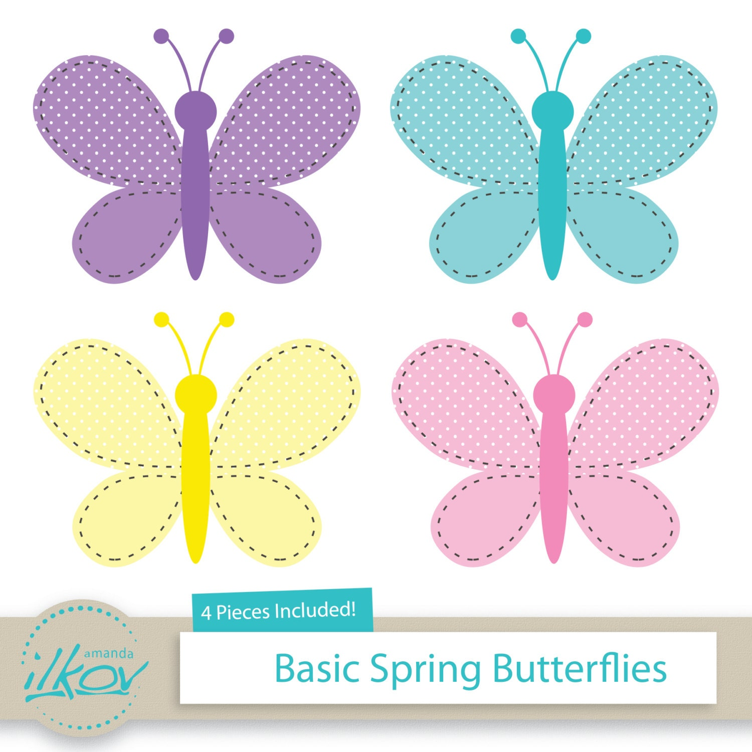 basic spring butterflies clipart for digital scrapbooking