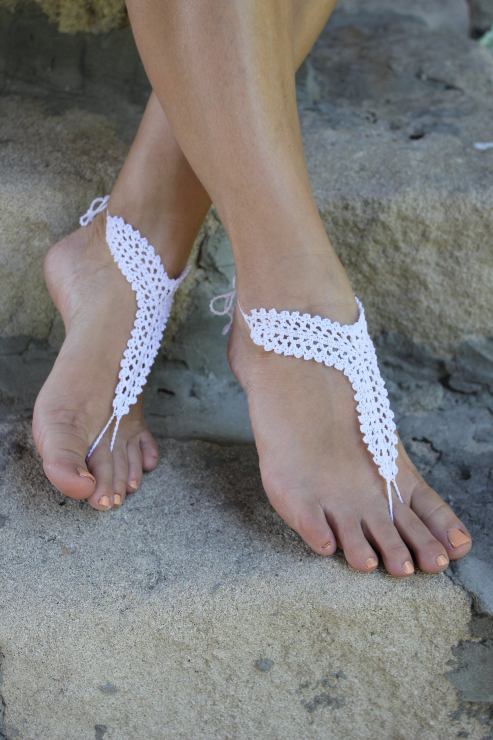 Wedding Barefoot Sandals Beach Wedding Shoes White By