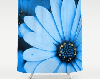 Blue Daisy Shower Curtain, Washable Fabric, Nature Home Decor, Light Blue  Bathroom Decor