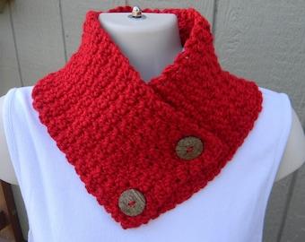 Hand Crocheted Buttoned Neckwarmer Barn Red